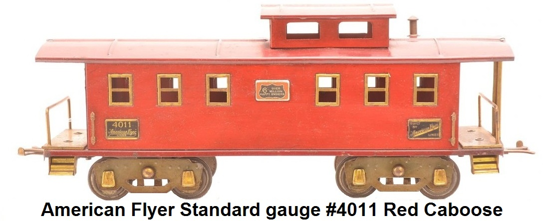 American Flyer Standard gauge #4011 Red Caboose with gray flex trucks