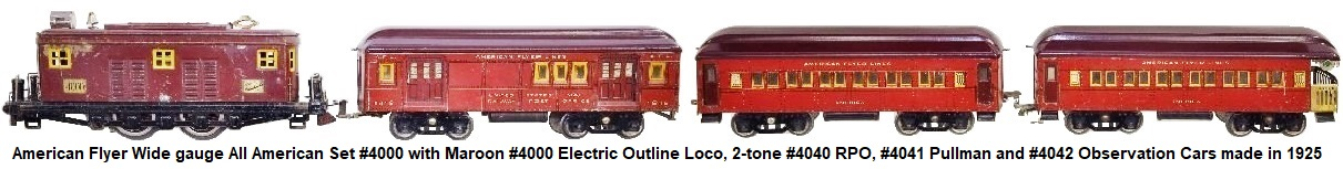 American Flyer Wide gauge #4000 Set with #4000 electric outline loco, #4040 RPO car, #4141 Pullman and #4042 Observation circa 1925