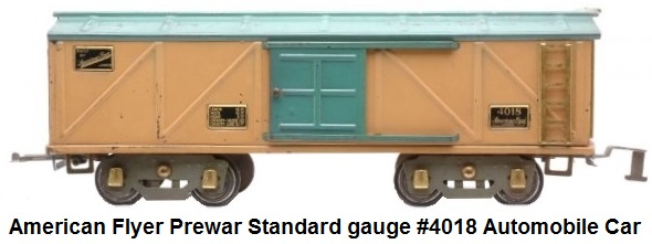 American Flyer Prewar Standard gauge #4018 automobile car with rookie tan sides, turquoise door and roof