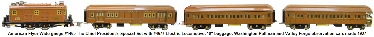 American Flyer Wide gauge lithographed The Chief Presidents Special passenger set #1456, circa 1927