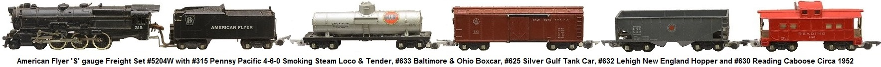 American Flyer 'S' gauge freight set #5204W circa 1952 with #315 Pennsy Pacific loco with smoke and choo-choo sounds, tender #633 Baltimore & Ohio boxcar #625 silver Gulf tank #632 Lehigh New England hopper and #630 Reading caboose