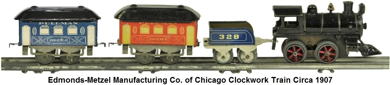 Edmonds-Metzel Manufacturing Co. of Chicago #1 clockwork 0-4-0 loco, #328 tender and tinplate litho Chicago passenger car circa 1907