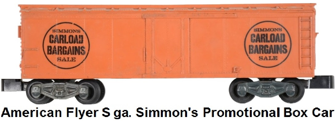 American Flyer S gauge Simmons Promotional Box Car