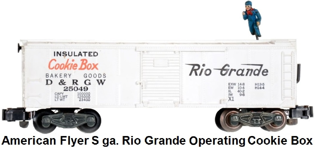 American Flyer S gauge Rio grande Cookie Box Operating Box Car
