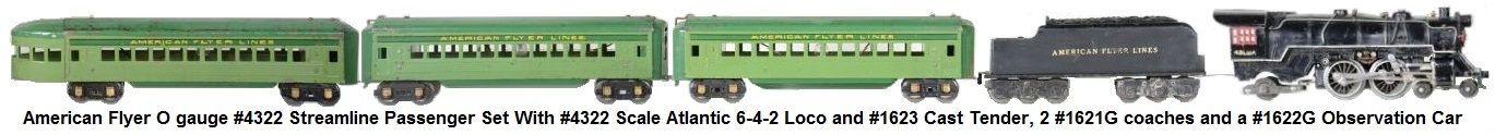 American Flyer O gauge #4322 Streamline Passenger Set Includes a #4322 Scale Atlantic loco with #1623 cast tender, 2 #1621G coaches and a #1622G observation car circa 1937
