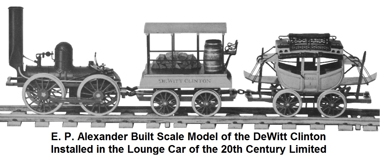 Ed Alexander scale model of the DeWitt Clinton installed in the parlor car of the 20th Century Limited