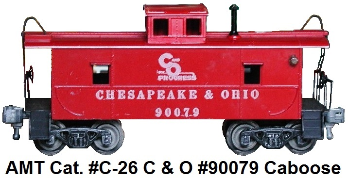 AMT catalog #C-26 Chesepeake & Ohio #90079 caboose with black steps, railings and ladders