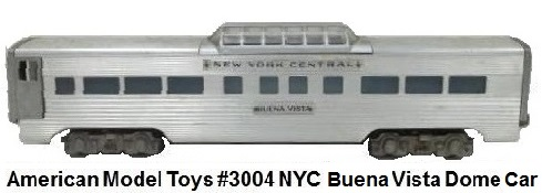 AMT American Model Toys #3004 NYC Buena Vista Dome car in 'O' gauge