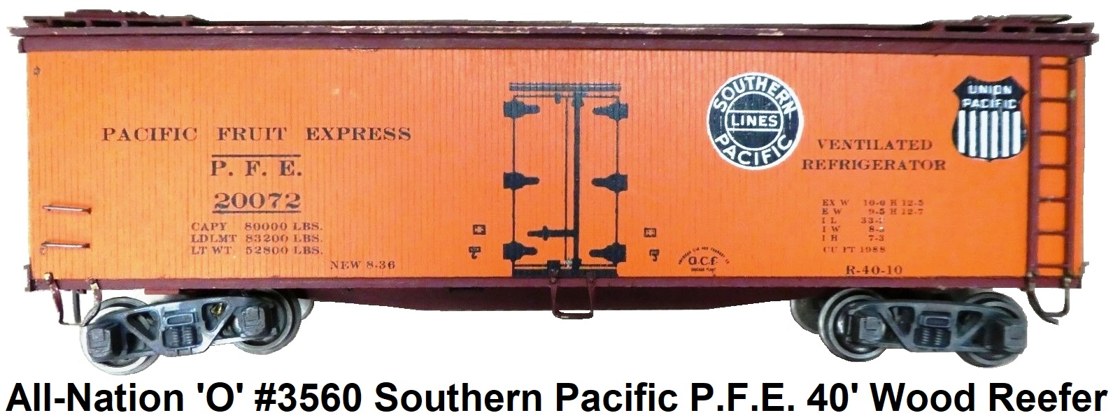 All-Nation 'O' scale 2-rail Kit-built #3560 Southern Pacific PFE 40' Woodside Refrigerator Car Pre-war