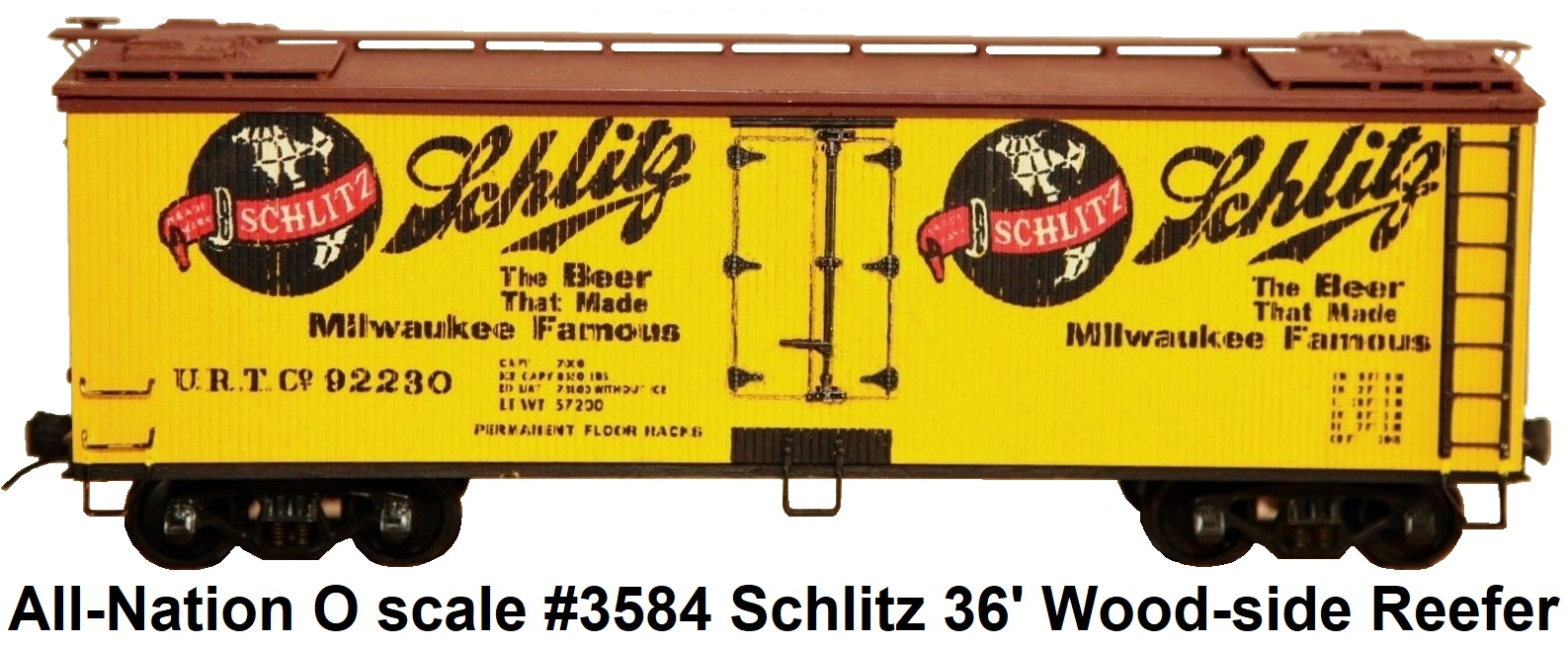 All-Nation 'O' scale 2-rail kit-built #3584 Schlitz 36' Wood Reefer #92230