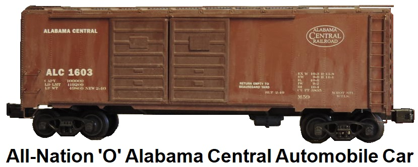 All-Nation 'O' scale Kit-built 2-rail Alabama Central Automobile car wood-structure with metal ends and sides