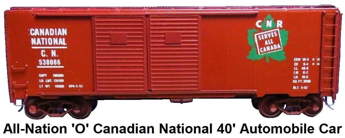 All-Nation 'O' scale Kit-built 2-rail #3679 Canadian National 40' Steel Automobile car