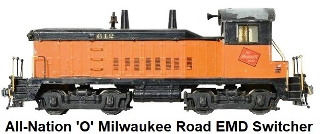 All-Nation 'O' scale EMD 1,000 HP Kit-built Milwaukee Road Diesel Yard Switcher for 2-rail