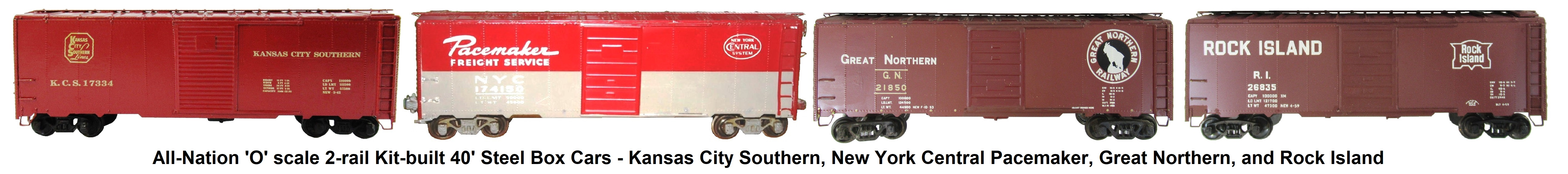 All-Nation 'O' scale 2-rail Kit-built 40' Steel Box Cars - Kansas City Southern, New York Central Pacemaker, Great Northern, and Rock Island
