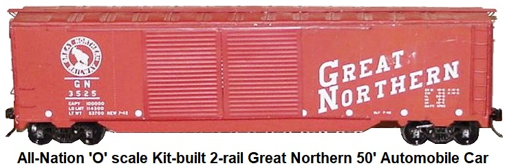 All-Nation 'O' scale Kit-built 2-rail Great Northern 50' Steel Automobile car