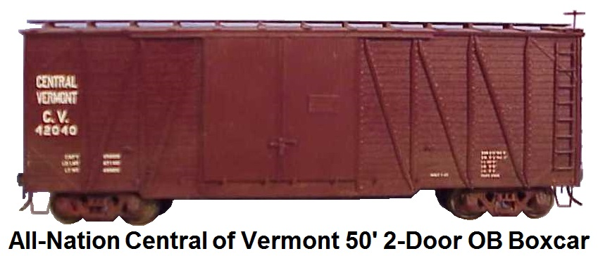 All-Nation Central of Vermont 50' 2-Door Outside Braced Box car