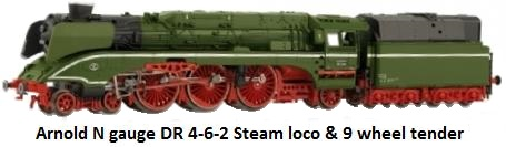 Arnold DR 4-6-2 steam loco & 9 wheel tender in N gauge HN2074