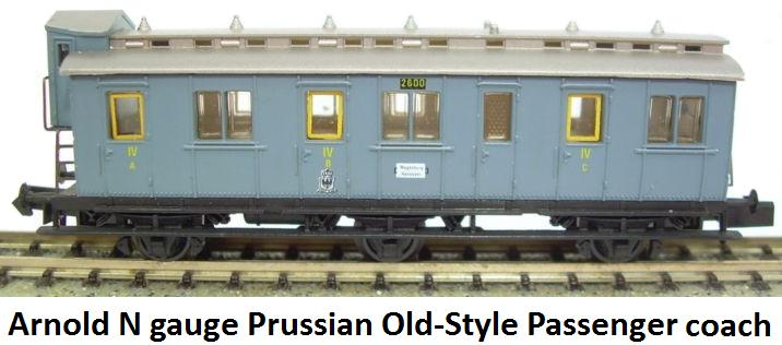Arnold 3042 Gray Prussian Old-Style Passenger Car #1 in N gauge