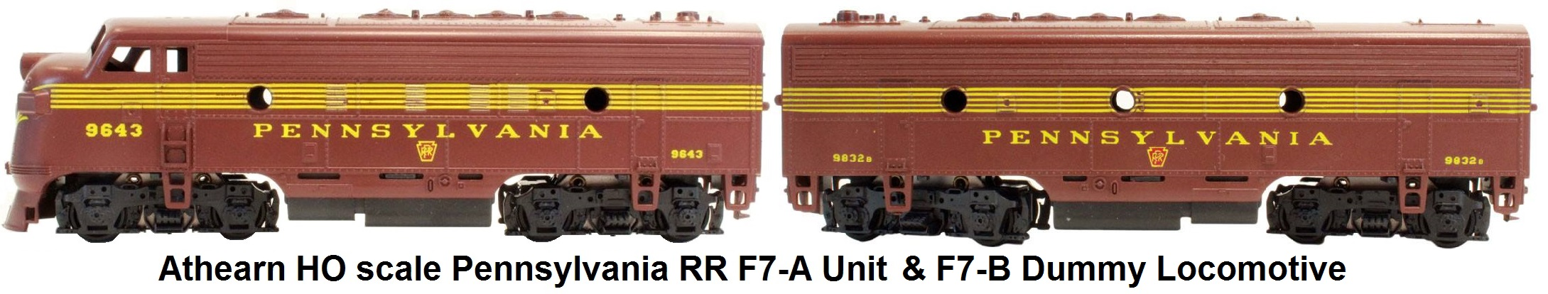 Athearn HO scale Pennsylvania RR F7-A & B units
