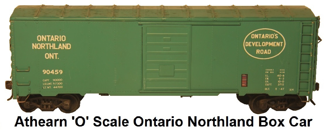 Athearn 'O' Scale Kit-built Ontario Northland Box Car #90459