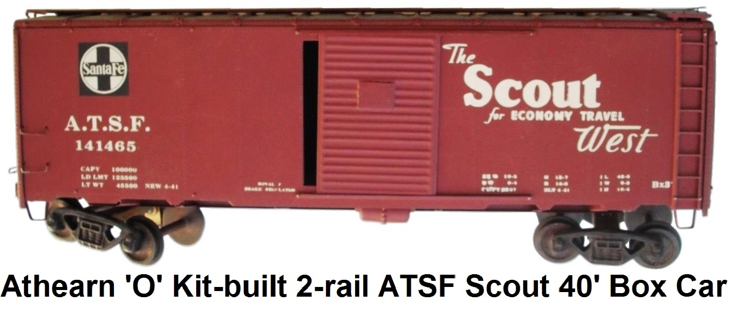 Athearn 'O' scale Kit-built 2-rail AT&SF #141465 Scout 40' Box Car