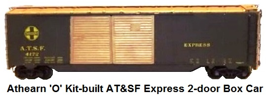 Athearn 'O' scale Kit-built 2-rail ATSF Double Door 50' Box Car