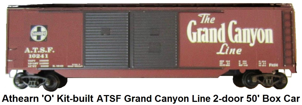 Athearn 'O' scale kit-built 2-rail Double Door 50' Box Car ATSF Ship Santa Fe All The Way