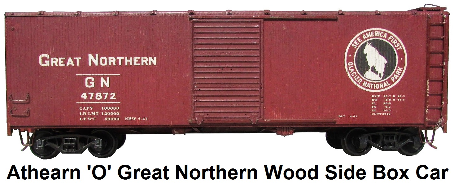 Athearn 'O' Scale Kit-built Great Northern Railway Wood Side Box Car