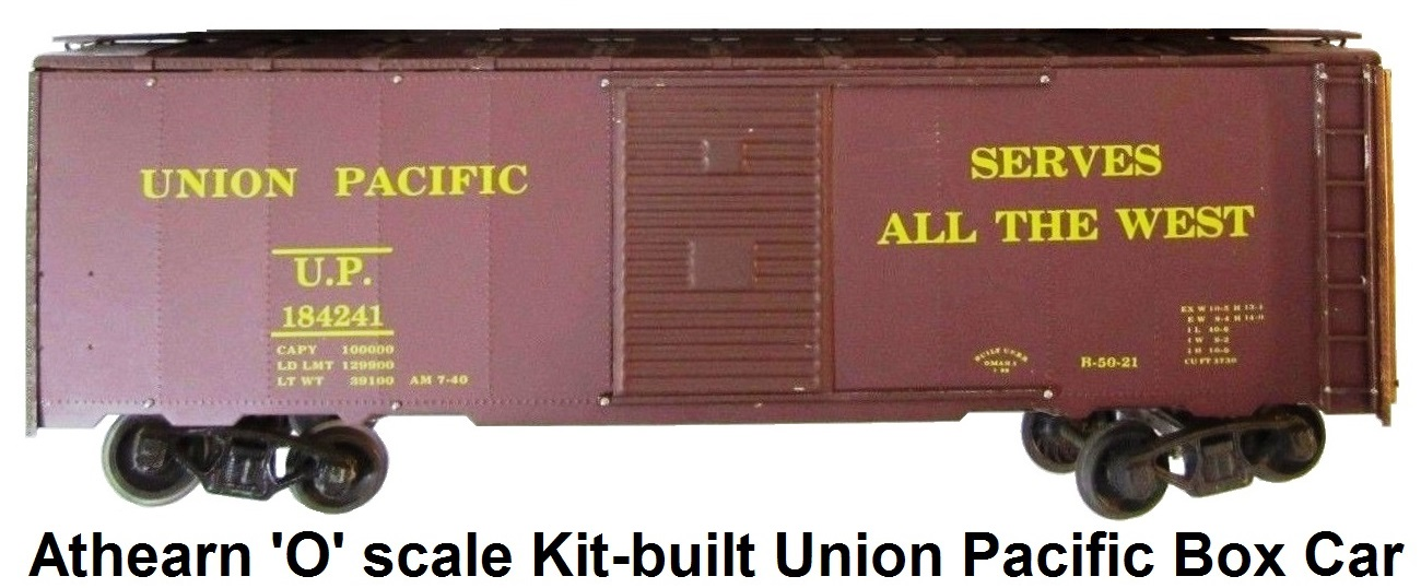 Athearn 'O' scale kit-built 2-rail Union Pacific 40' Box Car