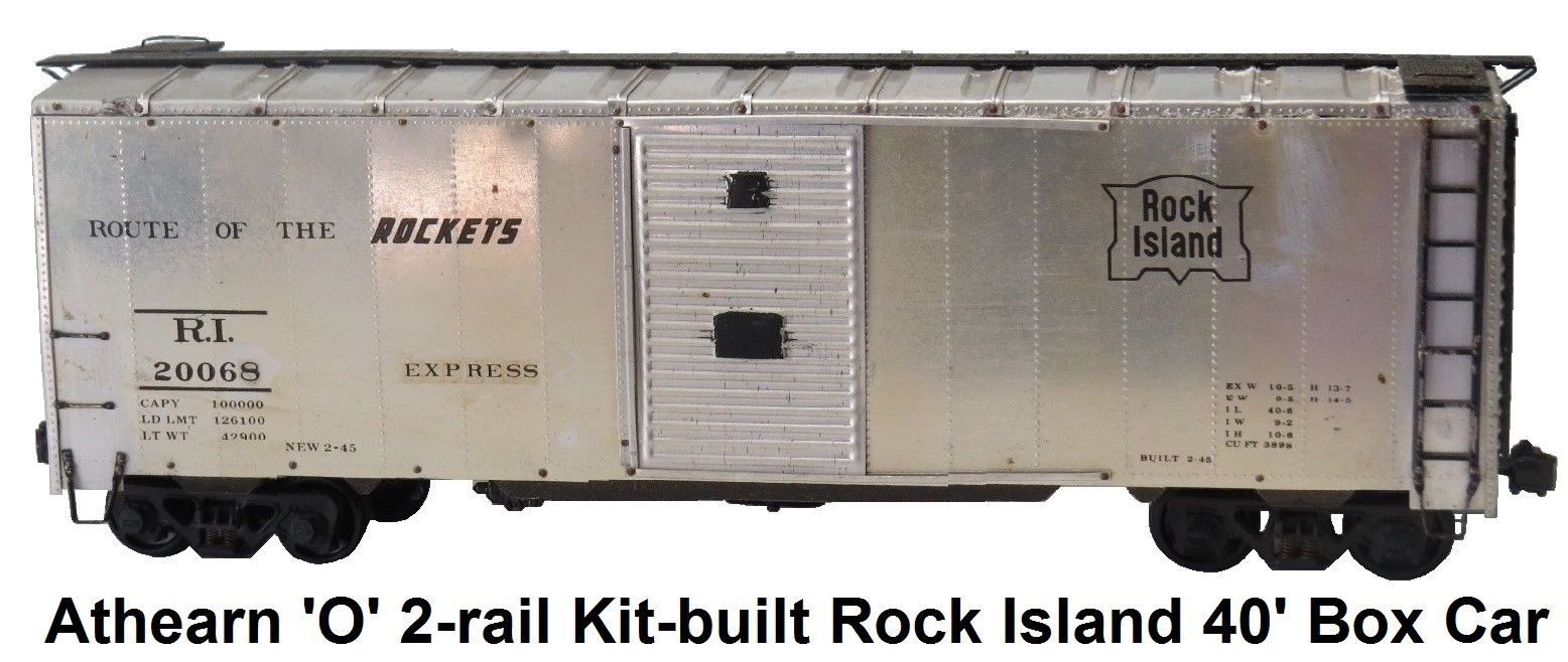 Athearn 'O' scale Kit-built 2-rail Rock Island #20068 Metal Shell 40' Box Car