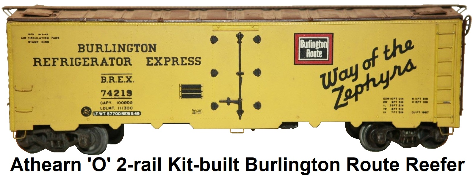 Athearn 'O' scale Kit-built 2-rail Burlington Route Way of the Zephyrs Reefer #74215