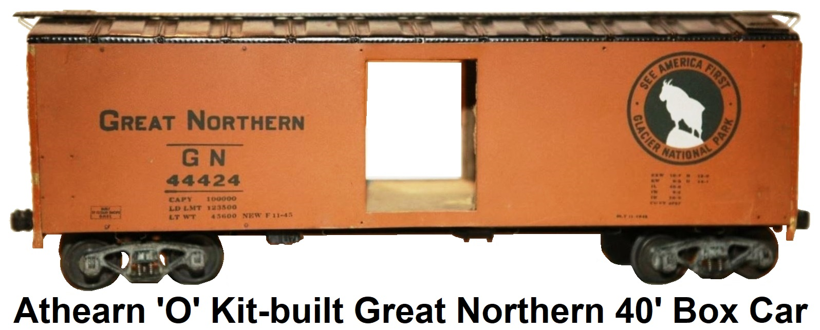 Athearn 'O' scale Kit-built 2-rail Great Northern #44424 Metal Shell 40' Box Car