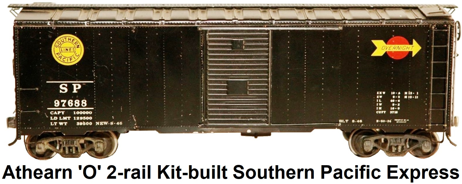 Athearn 'O' scale Kit-built 2-rail Southern Pacific Overnight Express Single door 40' steel box car