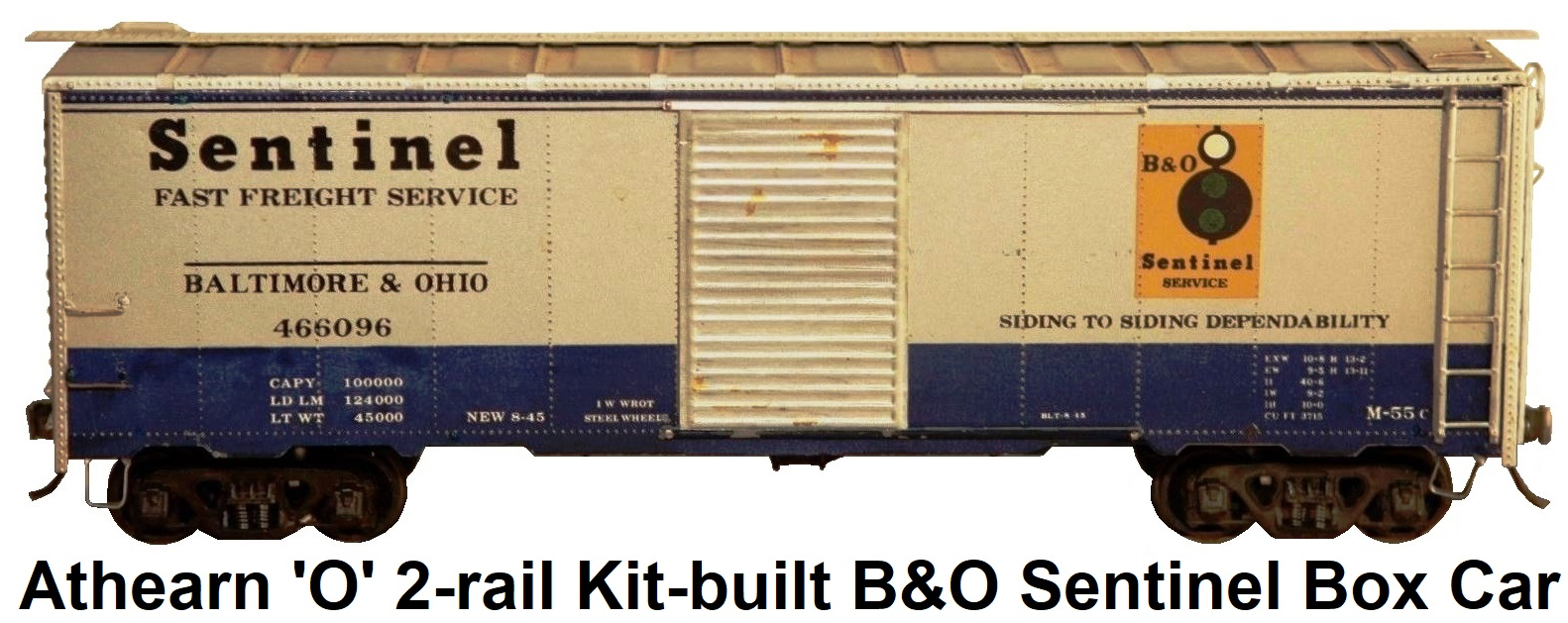 Athearn 'O' scale Kit-built 2-rail B&O Sentinel Single door 40' steel box car
