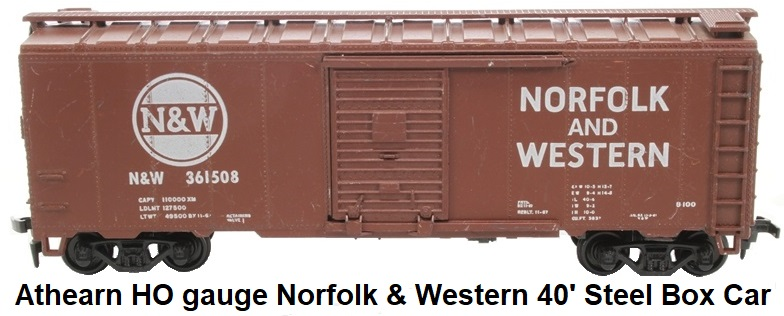 Athearn HO gauge AAR 1210ATH-LN Norfolk & Western Railroad 40' Box Car