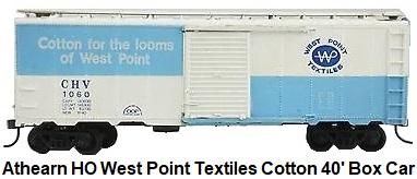Athearn HO gauge RTR CHV West Point Textiles Cotton 40' Box Car