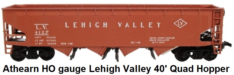Athearn HO gauge 1750ATH-KB 40' Lehigh Valley Quad Hopper