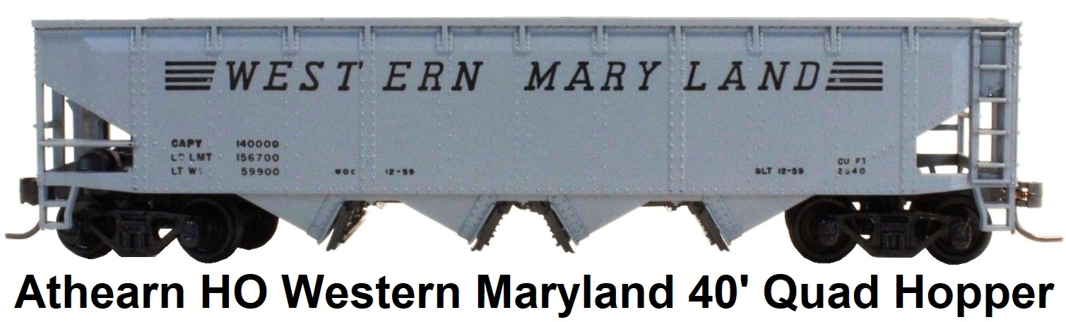 Athearn HO gauge Western Maryland 40' Open Top Quad Hopper