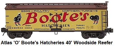 Atlas 'O' scale Boote's Hatcheries 40' Woodside Reefer Car #6732 3-rail circa 2002