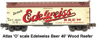 Atlas 'O' scale Edelweiss 40' Wood Side Reefer