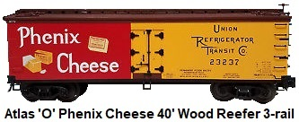 Atlas 'O' #6711 Phenix Cheese Wood Side Reefer for 3-rail circa 2000