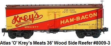Atlas 'O' scale Krey's Meats 36' Wood Side Billboard Reefer #8009 for 3-rail circa 2003