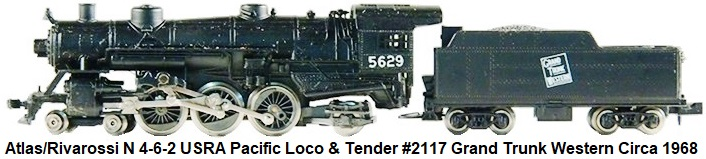 Atlas/Rivarossi N gauge 4-6-2 USRA Pacific Loco & tender #2117 Grand Trunk Western circa 1968