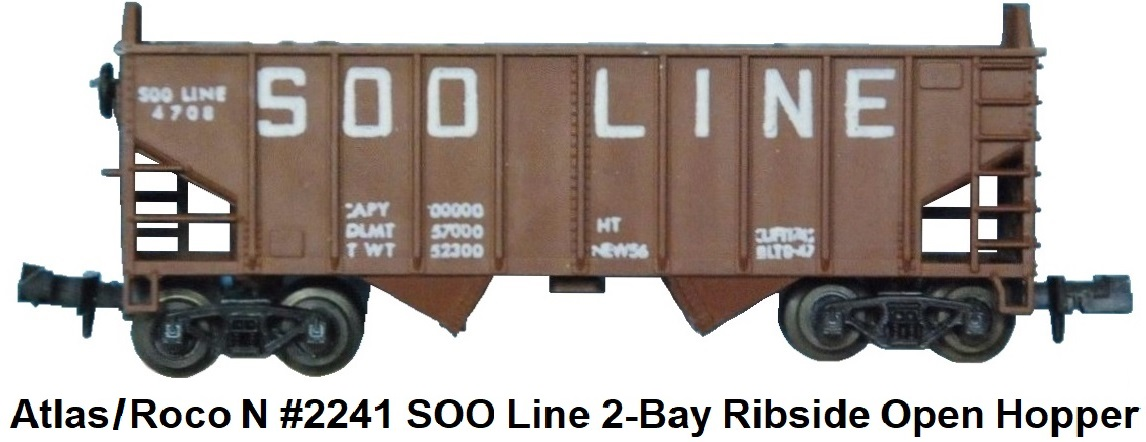 Atlas N #2241 SOO Line 2-Bay Ribside Open Hopper by Roco