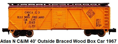 Atlas N #2365 1st generation 40' outside braced Single Sheathed wood box car, lettered for Chicago and Illinois Midland, C&IM RN #8045 circa 1967 by Rivarossi