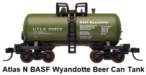 Atlas N scale Beer can Tank Car BSAF Wyandotte #78570