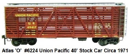 Atlas 'O' Scale #6224 Union Pacific 40' Stock Car 2-rail Circa 1971