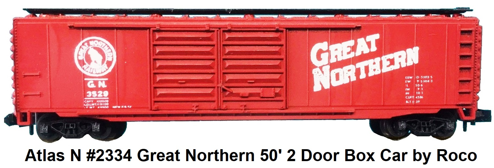 Atlas N #2334 Great Northern 50' 2 Door Box Car by Roco