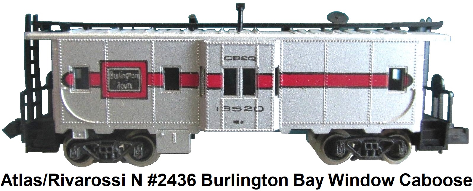 Atlas N #2436 Burlington Route Bay Window Caboose by Rivarossi