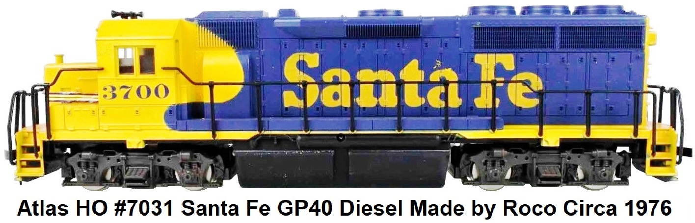 Atlas HO #7031 Santa Fe GP40 Diesel RN 3700 Made by Roco Circa 1976